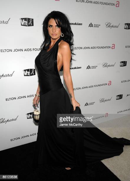 Personality Katie Price arrives at the 17th Annual Elton John AIDS Foundation Oscar party held at the Pacific Design Center on February 22 2009 in...