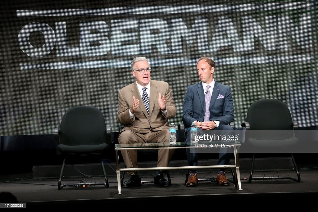 TV Personality <a gi-track='captionPersonalityLinkClicked' href=/galleries/search?phrase=Keith+Olbermann&family=editorial&specificpeople=757842 ng-click='$event.stopPropagation()'>Keith Olbermann</a> (L) and Jamie Horowitz, VP at ESPN, speak onstage during the Olbermann panel at the ESPN portion of the 2013 Summer Television Critics Association tour at the Beverly Hilton Hotel on July 24, 2013 in Beverly Hills, California.