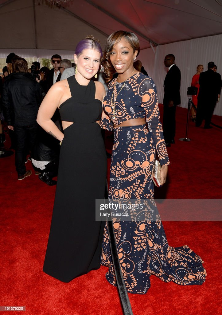 TV personality Kelly Osbourne and singer Estelle attend the 55th Annual GRAMMY Awards at STAPLES Center on February 10 2013 in Los Angeles California