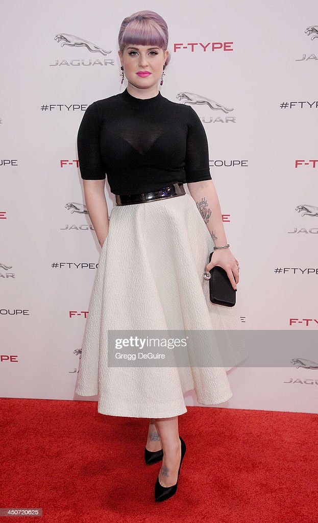 TV personality Kelly Osbourne arrives at the Jaguar F-TYPE Coupe launch party at Raleigh Studios on November 19, 2013 in Playa Vista, California.