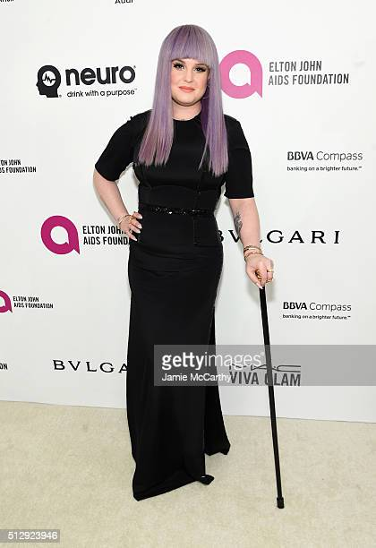 TV personality Kelly Osbourne attends the 24th Annual Elton John AIDS Foundation's Oscar Viewing Party at The City of West Hollywood Park on February...