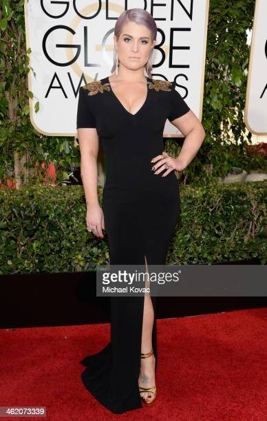 TV personality Kelly Osbourne attends the 71st Annual Golden Globe Awards with Moet Chandon held at the Beverly Hilton Hotel on January 12 2014 in...