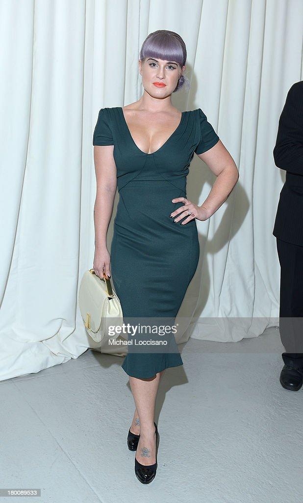 TV personality Kelly Osbourne poses backstage at the Zac Posen fashion show during MercedesBenz Fashion Week Spring 2014 at Center 548 on September 8...