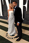 TV personality Kelly Ripa and actor Mark Consuelos attend the 2015 Vanity Fair Oscar Party hosted by Graydon Carter at the Wallis Annenberg Center...