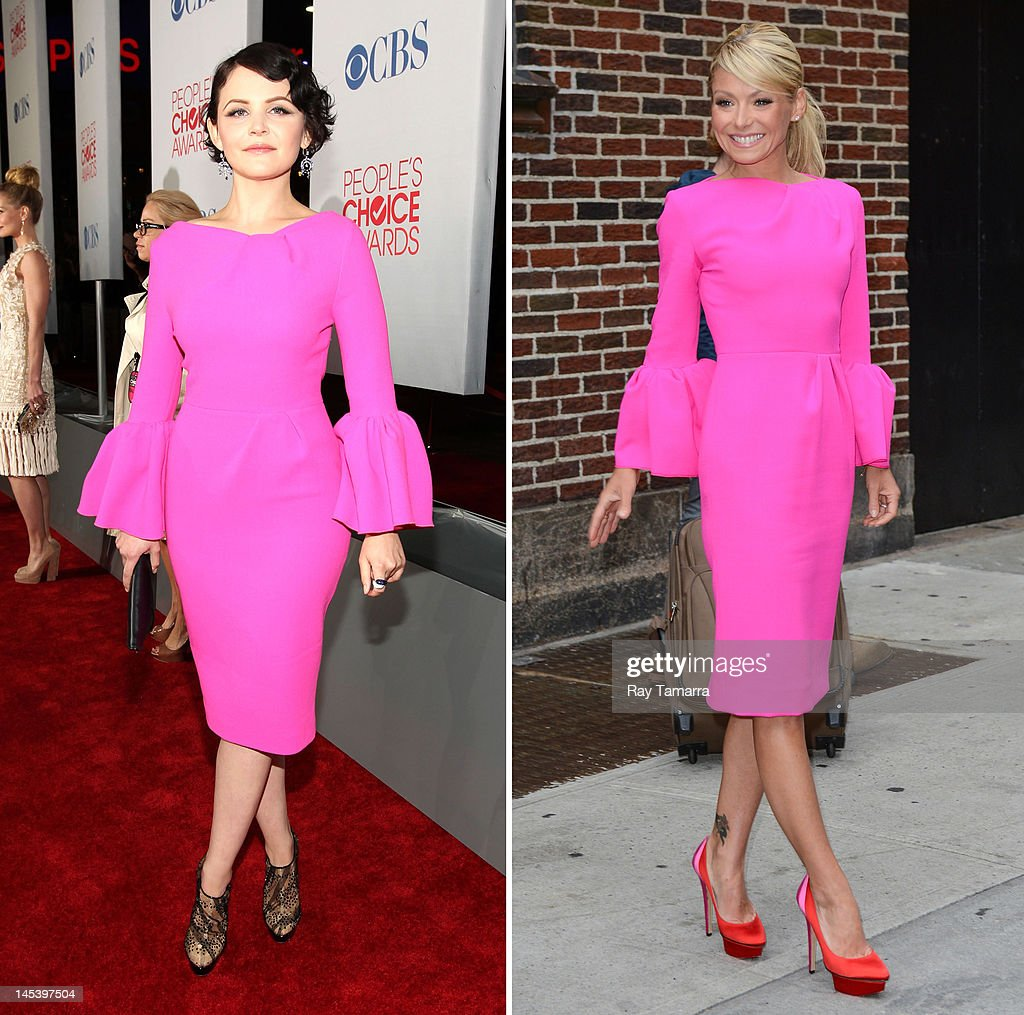 In this composite image a comparison has been made between <a gi-track='captionPersonalityLinkClicked' href=/galleries/search?phrase=Ginnifer+Goodwin&family=editorial&specificpeople=215039 ng-click='$event.stopPropagation()'>Ginnifer Goodwin</a> (L) and <a gi-track='captionPersonalityLinkClicked' href=/galleries/search?phrase=Kelly+Ripa&family=editorial&specificpeople=202134 ng-click='$event.stopPropagation()'>Kelly Ripa</a> (R) for a Celebrity Same Dresses feature. (Left image) LOS ANGELES, CA - JANUARY 11: Actress <a gi-track='captionPersonalityLinkClicked' href=/galleries/search?phrase=Ginnifer+Goodwin&family=editorial&specificpeople=215039 ng-click='$event.stopPropagation()'>Ginnifer Goodwin</a> arrives at the 2012 People's Choice Awards at Nokia Theatre L.A. Live on January 11, 2012 in Los Angeles, California. (Photo by Christopher Polk/Getty Images for PCA) (Right Image) NEW YORK, NY - MAY 14: TV personality <a gi-track='captionPersonalityLinkClicked' href=/galleries/search?phrase=Kelly+Ripa&family=editorial&specificpeople=202134 ng-click='$event.stopPropagation()'>Kelly Ripa</a> leaves the 'Late Show With David Letterman' taping at the Ed Sullivan Theater on May 14, 2012 in New York City.