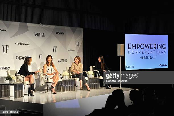 TV personality Keltie Knight actress Kate Walsh CEO CoFounder of Clique Media Katherine Power and CMO CoFounder of Spring Ara Katz speak onstage...