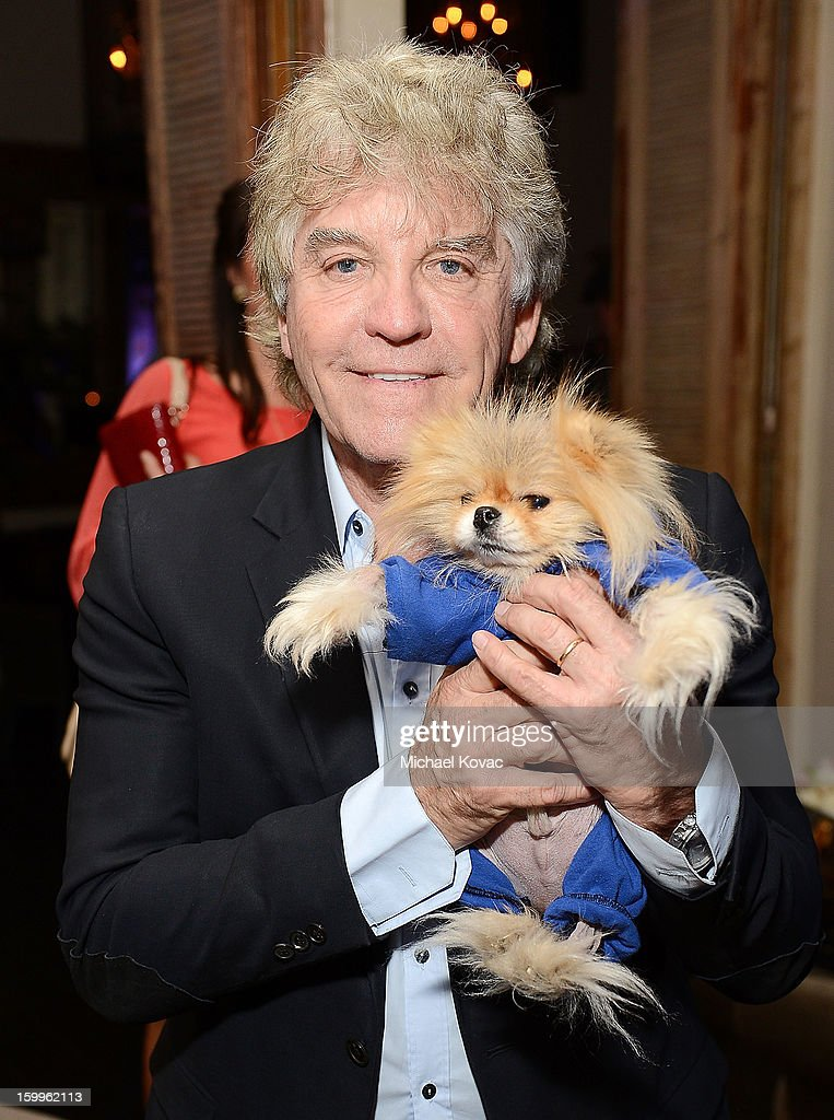 TV personality Ken Todd and dog Jiggy attend Celebrities and the EMA Help Green Works Launch New Campaign at Sur Restaurant on January 23, 2013 in Los Angeles, California.