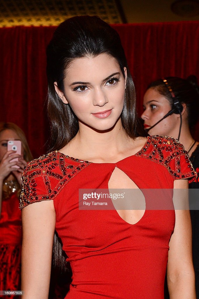TV personality <a gi-track='captionPersonalityLinkClicked' href=/galleries/search?phrase=Kendall+Jenner&family=editorial&specificpeople=2786662 ng-click='$event.stopPropagation()'>Kendall Jenner</a> attends The Heart Truth's Red Dress Collection Fall 2013 Mercedes-Benz Fashion Show at 499 Seventh Avenue on February 6, 2013 in New York City.