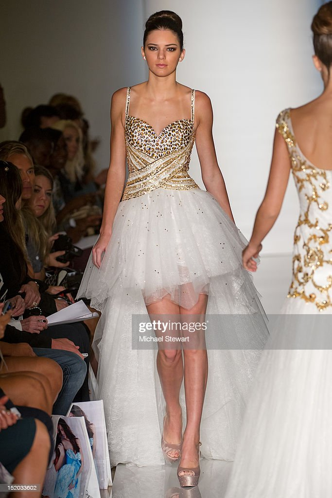 TV personality <a gi-track='captionPersonalityLinkClicked' href=/galleries/search?phrase=Kendall+Jenner&family=editorial&specificpeople=2786662 ng-click='$event.stopPropagation()'>Kendall Jenner</a> walk the runway the Evening Sherri Hill Spring 2013 Mercedes-Benz Fashion Week Show at Trump Tower on September 7, 2012 in New York City.