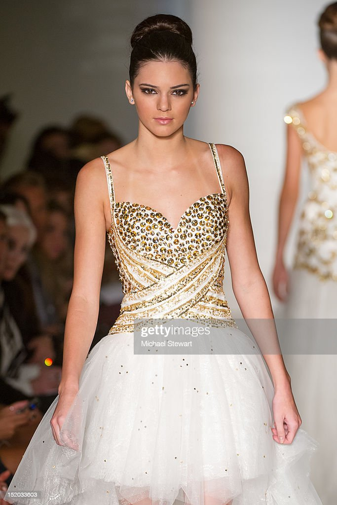 TV personality Kendall Jenner walk the runway the Evening Sherri Hill Spring 2013 Mercedes-Benz Fashion Week Show at Trump Tower on September 7, 2012 in New York City.