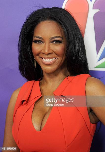 TV personality Kenya Moore arrives at day 2 of the NBCUniversal 2015 Press Tour at The Langham Huntington Hotel and Spa on January 16 2015 in...