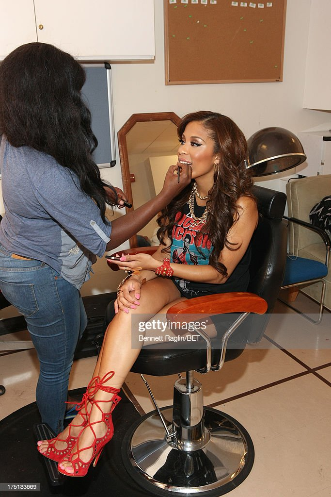 TV personality Keshia Chante bacstage during BET's '106 & Park' at BET Studios on July 31, 2013 in New York City.