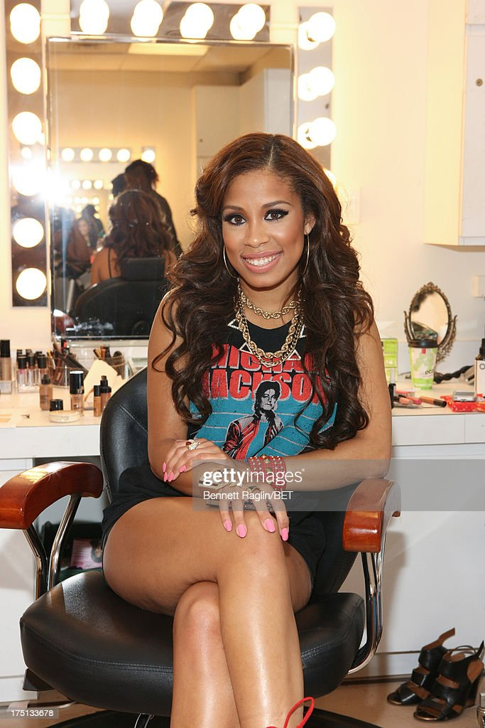 TV personality Keshia Chante poses for a picture bacstage during BET's '106 & Park' at BET Studios on July 31, 2013 in New York City.
