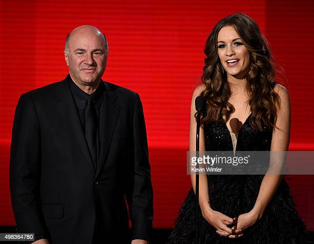 TV personality Kevin O'Leary and Miss America Betty Cantrell speak onstage during the 2015 American Music Awards at Microsoft Theater on November 22...