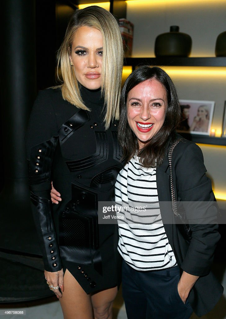 TV personality Khloe Kardashian (L) and makeup artist Sabrina Bedrani attend The Hollywood Reporter's Beauty Dinner at The London West Hollywood on November 11, 2015 in West Hollywood, California.