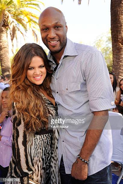 TV personality Khloe Kardashian and professional basketball player Lamar Odom arrive at the 2011 Teen Choice Awards held at the Gibson Amphitheatre...