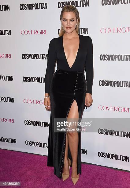 TV personality Khloe Kardashian arrives at Cosmopolitan Magazine's 50th Birthday Celebration at Ysabel on October 12 2015 in West Hollywood California