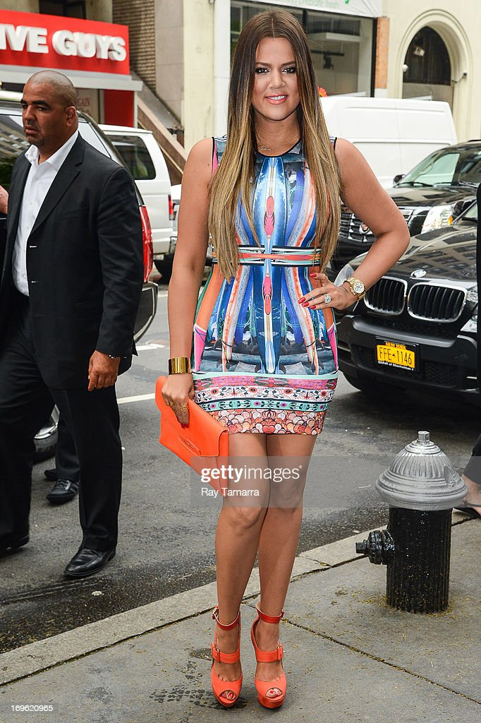 TV personality <a gi-track='captionPersonalityLinkClicked' href=/galleries/search?phrase=Khloe+Kardashian&family=editorial&specificpeople=3955023 ng-click='$event.stopPropagation()'>Khloe Kardashian</a> enters the 'Today Show' taping at the NBC Rockefeller Center Studios on May 29, 2013 in New York City.