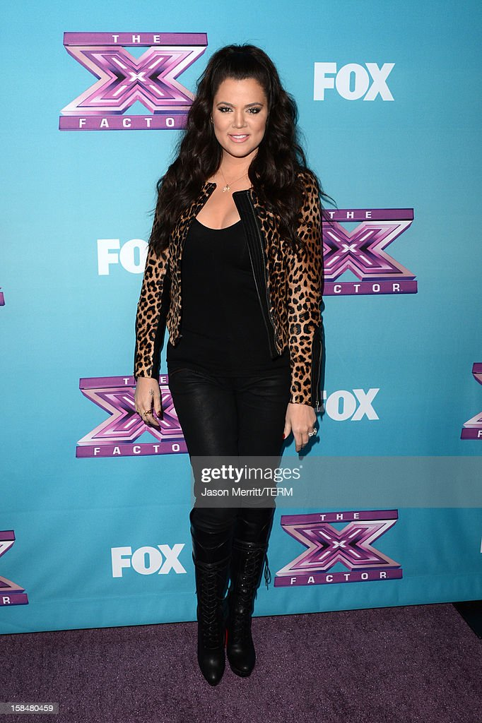 TV personality <a gi-track='captionPersonalityLinkClicked' href=/galleries/search?phrase=Khloe+Kardashian&family=editorial&specificpeople=3955023 ng-click='$event.stopPropagation()'>Khloe Kardashian</a> Odom attends Fox's 'The X Factor' season finale news conference at CBS Television City on December 17, 2012 in Los Angeles, California.