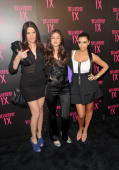 TV personality Khole Kardashian actress Caroline D'Amore and Kim Kardashian arrive at the 'Belvedere IX' Launch at MyHouse on February 5 2009 in...