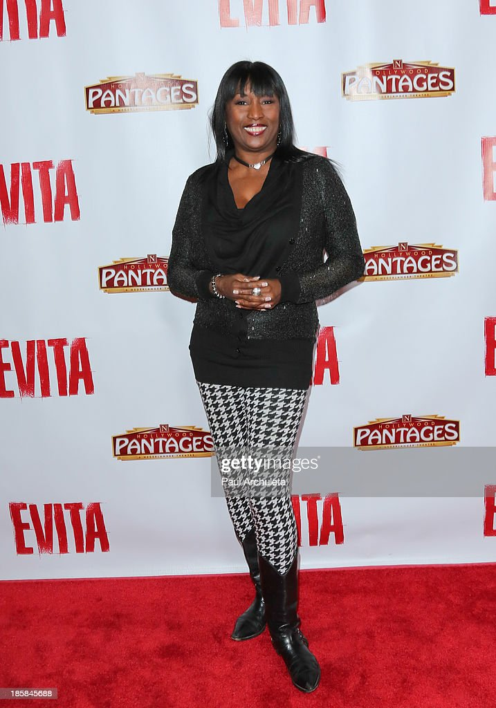 TV Personality Kiki Shepard attends the opening night of 'Evita' at the Pantages Theatre on October 24, 2013 in Hollywood, California.