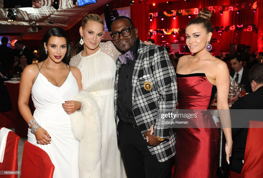 TV personality Kim Kardashian, actress Molly Sims, TV personality Randy Jackson and Carmen Electra attend Chopard at 21st Annual Elton John AIDS Foundation Academy Awards Viewing Party at West Hollywood Park on February 24, 2013 in West Hollywood, California.