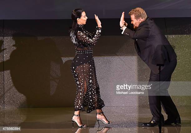 Personality Kim Kardashian and Actor James Corden greet onstage at the 2015 CFDA Fashion Awards at Alice Tully Hall at Lincoln Center on June 1 2015...