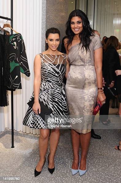 TV personality Kim Kardashian and designer Rachel Roy attend the Valentino Rodeo Drive Flagship Opening on March 27 2012 in Beverly Hills California