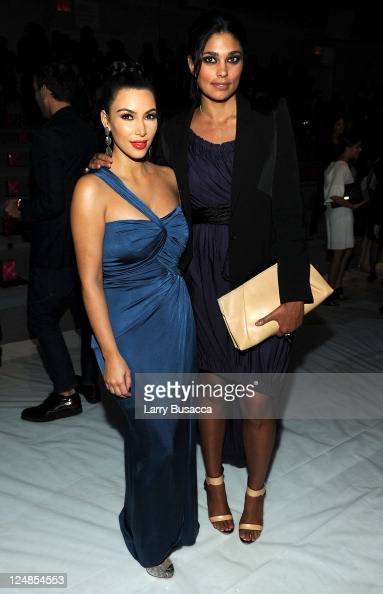 TV personality Kim Kardashian and designer Rachel Roy attend the Vera Wang Spring 2012 fashion show during MercedesBenz Fashion Week at The Stage at...