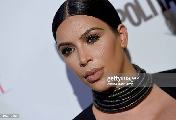 TV personality Kim Kardashian arrives at Cosmopolitan Magazine's 50th Birthday Celebration at Ysabel on October 12 2015 in West Hollywood California
