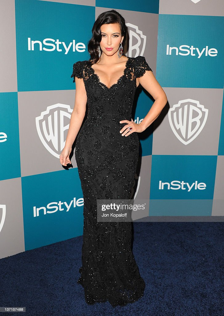 Personality Kim Kardashian arrives at the 13th Annual Warner Bros And InStyle Golden Globe After Party held at The Beverly Hilton hotel on January 15...