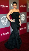 TV personality Kim Kardashian arrives at the 2011 InStyle And Warner Bros 68th Annual Golden Globe Awards postparty held at The Beverly Hilton hotel...