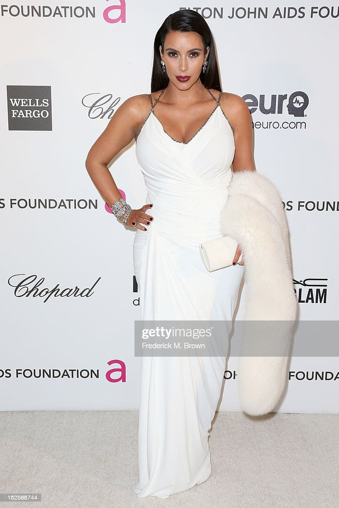 TV personality Kim Kardashian arrives at the 21st Annual Elton John AIDS Foundation's Oscar Viewing Party on February 24, 2013 in Los Angeles, California.