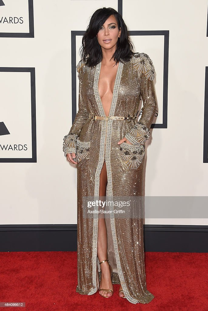 TV personality Kim Kardashian arrives at the 57th Annual GRAMMY Awards at Staples Center on February 8, 2015 in Los Angeles, California.