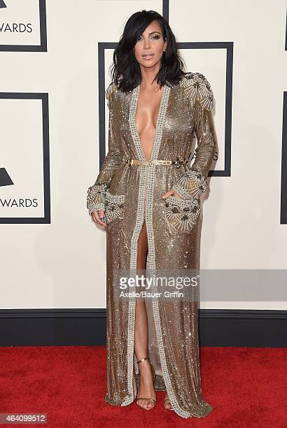 TV personality Kim Kardashian arrives at the 57th Annual GRAMMY Awards at Staples Center on February 8 2015 in Los Angeles California