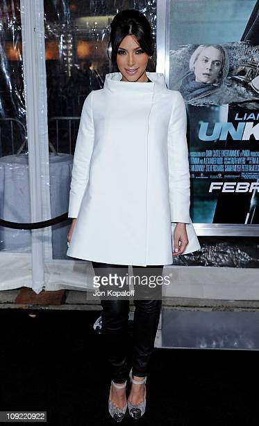 TV personality Kim Kardashian arrives at the Los Angeles Premiere 'Unknown' at Mann Village Theatre on February 16 2011 in Westwood California