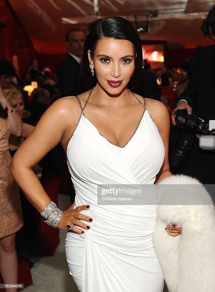 TV personality Kim Kardashian attends Chopard at 21st Annual Elton John AIDS Foundation Academy Awards Viewing Party at West Hollywood Park on February 24, 2013 in West Hollywood, California.