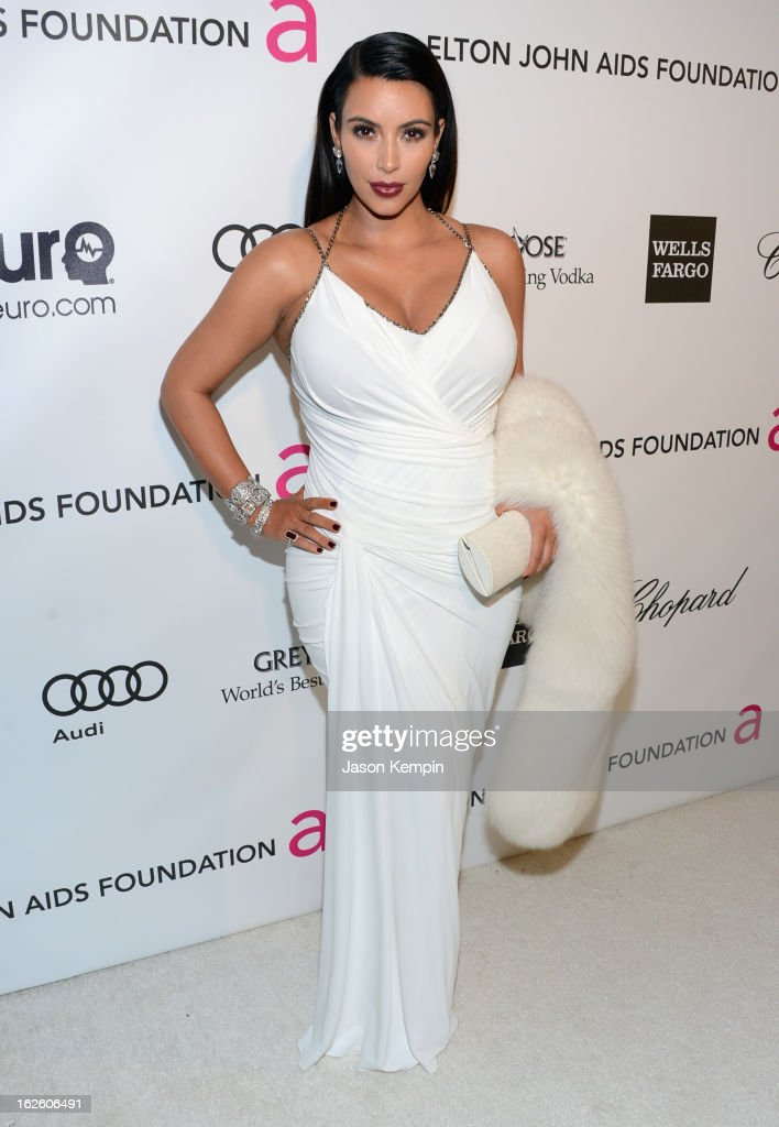 TV personality Kim Kardashian attends the 21st Annual Elton John AIDS Foundation Academy Awards Viewing Party at West Hollywood Park on February 24...