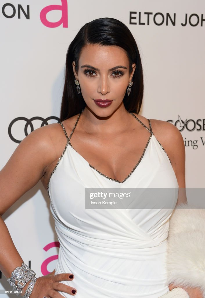 TV personality Kim Kardashian attends the 21st Annual Elton John AIDS Foundation Academy Awards Viewing Party at West Hollywood Park on February 24, 2013 in West Hollywood, California.