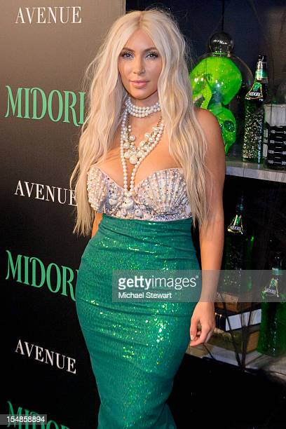 Personality Kim Kardashian attends the 2nd annual Midori Green Halloween Party at Avenue on October 27 2012 in New York City