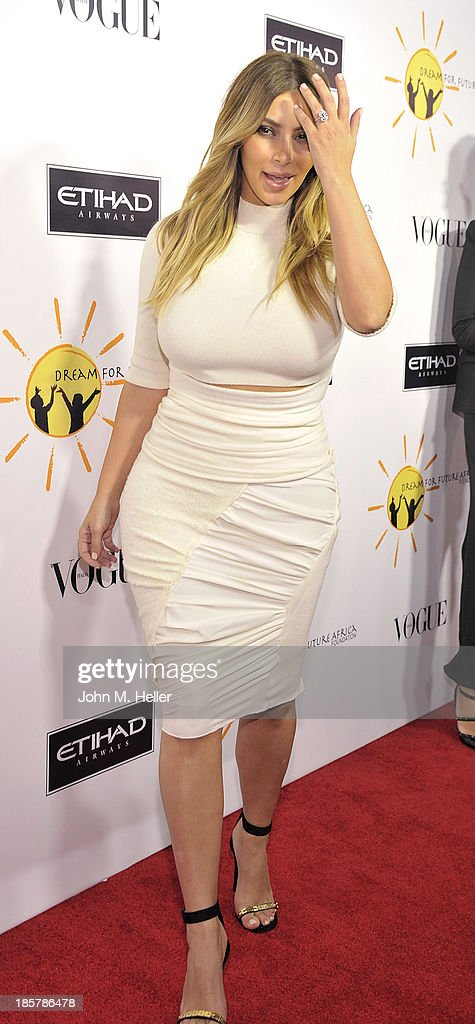 TV personality <a gi-track='captionPersonalityLinkClicked' href=/galleries/search?phrase=Kim+Kardashian&family=editorial&specificpeople=753387 ng-click='$event.stopPropagation()'>Kim Kardashian</a> attends the Dream For Future Africa Foundation Inaugural Gala Honoring Franca Sozzani of VOGUE Italia at Spago on October 24, 2013 in Beverly Hills, California.