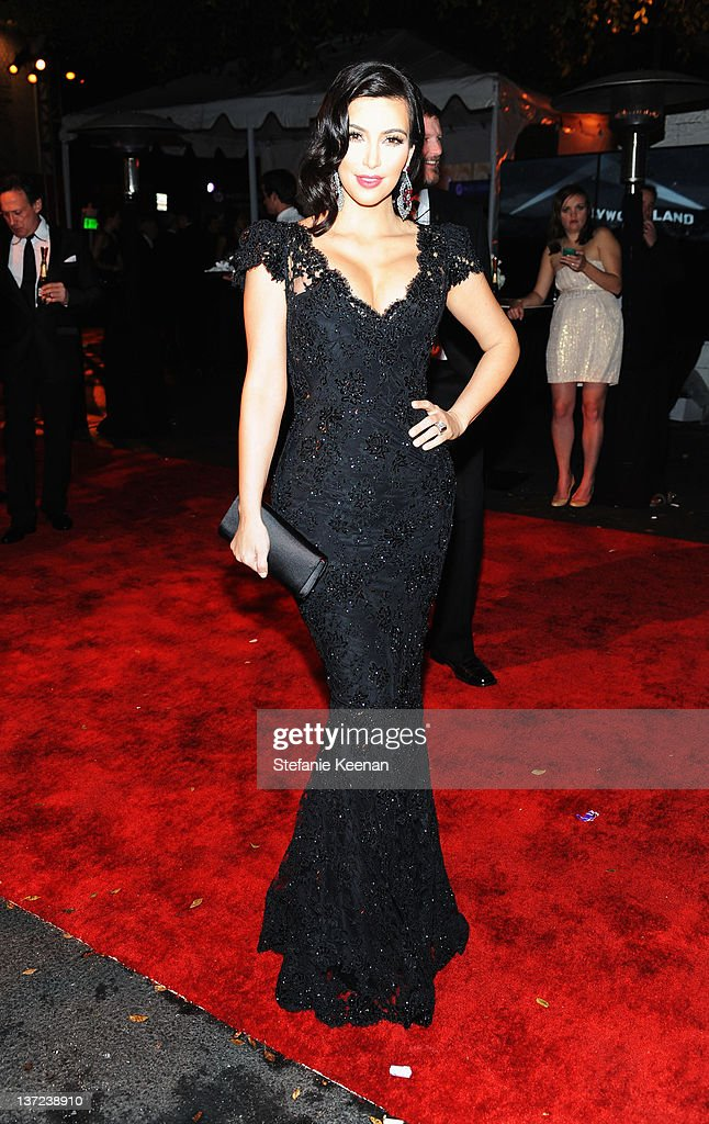 TV personality <a gi-track='captionPersonalityLinkClicked' href=/galleries/search?phrase=Kim+Kardashian&family=editorial&specificpeople=753387 ng-click='$event.stopPropagation()'>Kim Kardashian</a> attends The Weinstein Company Celebration of the 2012 Golden Globes presented by Chopard held at The Beverly Hilton hotel on January 15, 2012 in Beverly Hills, California.