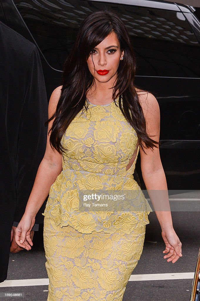 TV personality <a gi-track='captionPersonalityLinkClicked' href=/galleries/search?phrase=Kim+Kardashian&family=editorial&specificpeople=753387 ng-click='$event.stopPropagation()'>Kim Kardashian</a> enters the 'Today Show' taping at the NBC Rockefeller Center Studios on January 15, 2013 in New York City.