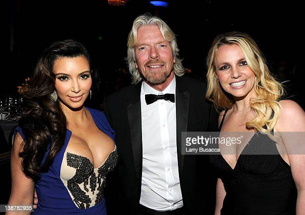 TV Personality Kim Kardashian Honoree Sir Richard Branson and Singer Britney Spears attend Clive Davis and the Recording Academy's 2012 PreGRAMMY...