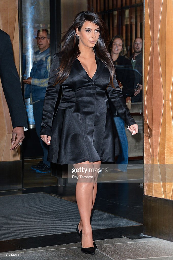 TV personality Kim Kardashian leaves her Soho hotel on April 22, 2013 in New York City.