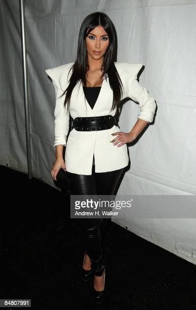 TV personality Kim Kardashian poses backstage at the Y3 Autumn/Winter 200910 fashion show during MercedesBenz Fashion Week at Pier 40 on February 15...