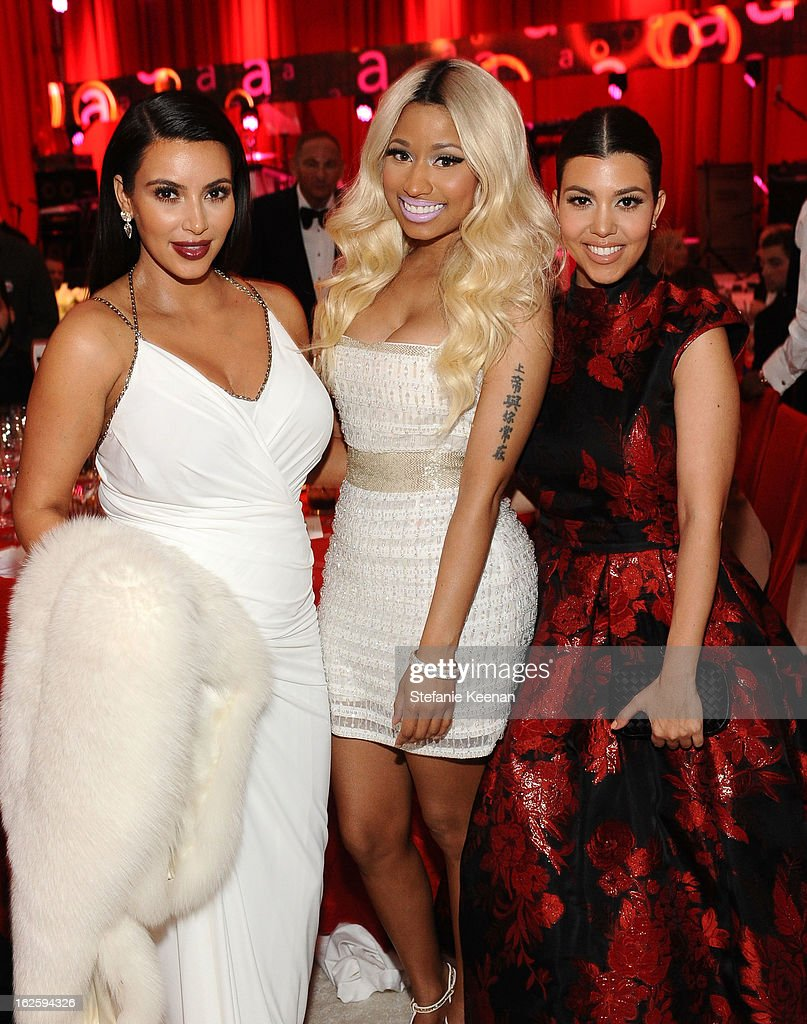 TV personality Kim Kardashian, singer Nicki Minaj and TV personality Kourtney Kardashian attend Chopard at 21st Annual Elton John AIDS Foundation Academy Awards Viewing Party at West Hollywood Park on February 24, 2013 in West Hollywood, California.