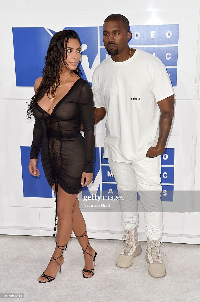 TV personality Kim Kardashian West and Kanye West attend the 2016 MTV Video Music Awards at Madison Square Garden on August 28 2016 in New York City