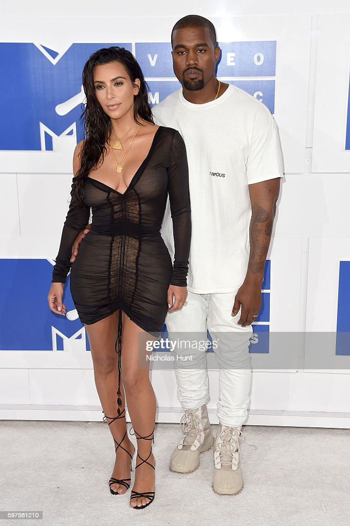 TV personality Kim Kardashian West and Kanye West attends the 2016 MTV Video Music Awards at Madison Square Garden on August 28 2016 in New York City