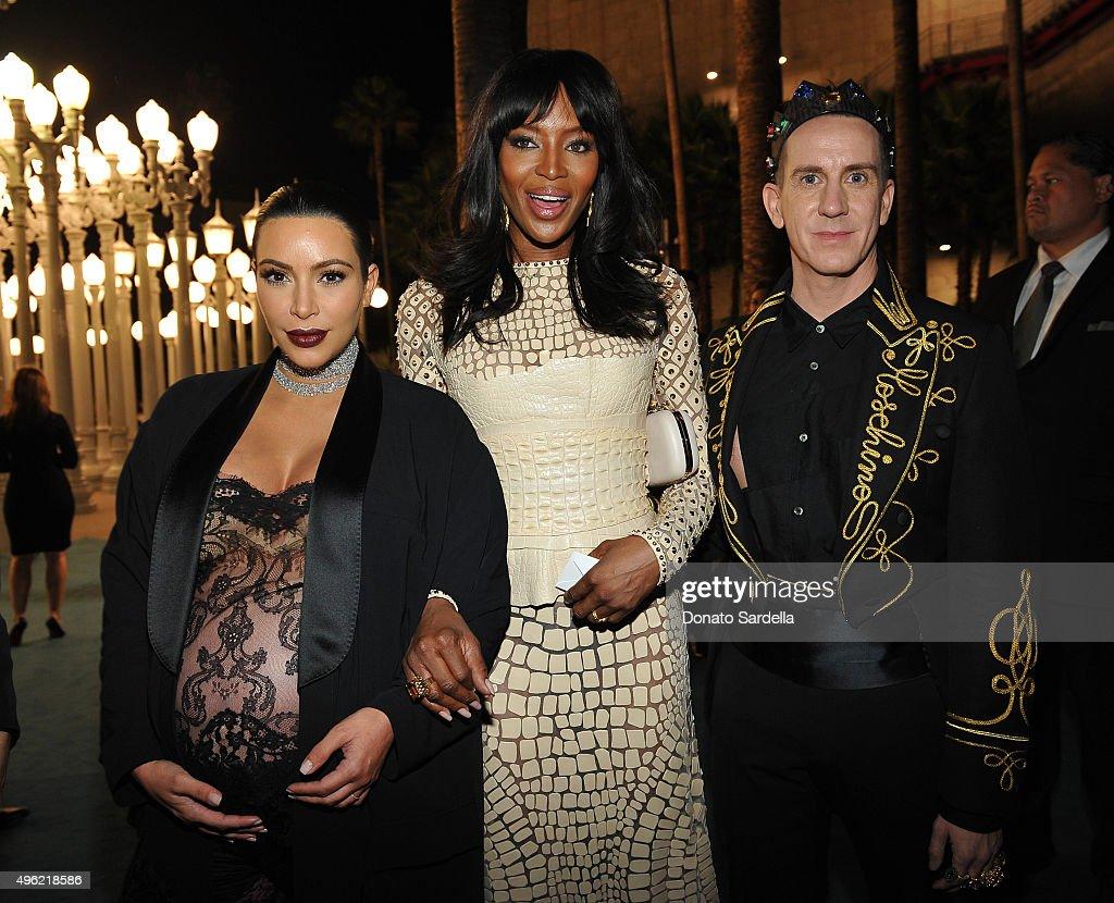 TV personality Kim Kardashian West model Naomi Campbell and Designer Jeremy Scott attend LACMA 2015 ArtFilm Gala Honoring James Turrell and Alejandro...